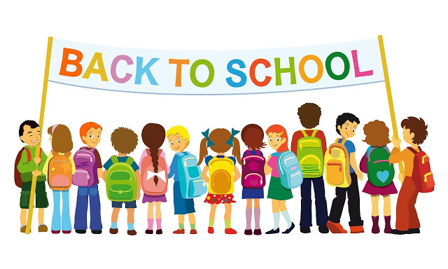 Clip art of students holding banner that says Back to School