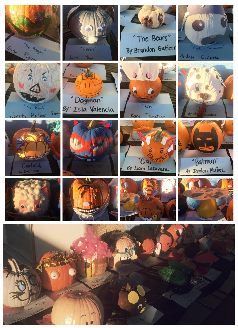 Pumpkins decorated for Halloween